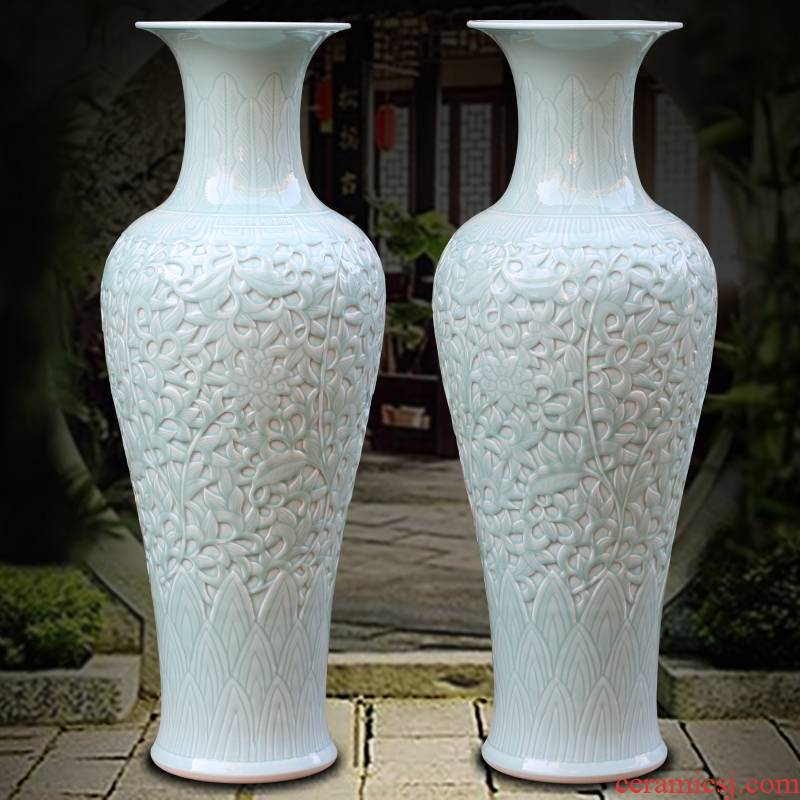 Jingdezhen single glaze hand - carved bound lotus flower ceramic vase of large household living room a study Chinese furnishing articles