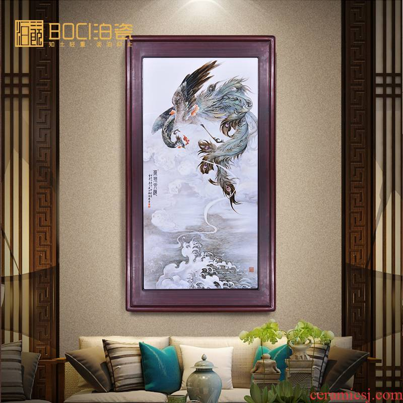 Jingdezhen ceramic all hand - made fengxiang horizon porcelain plate painting I household adornment picture hanging vertical version painting murals calligraphy and painting