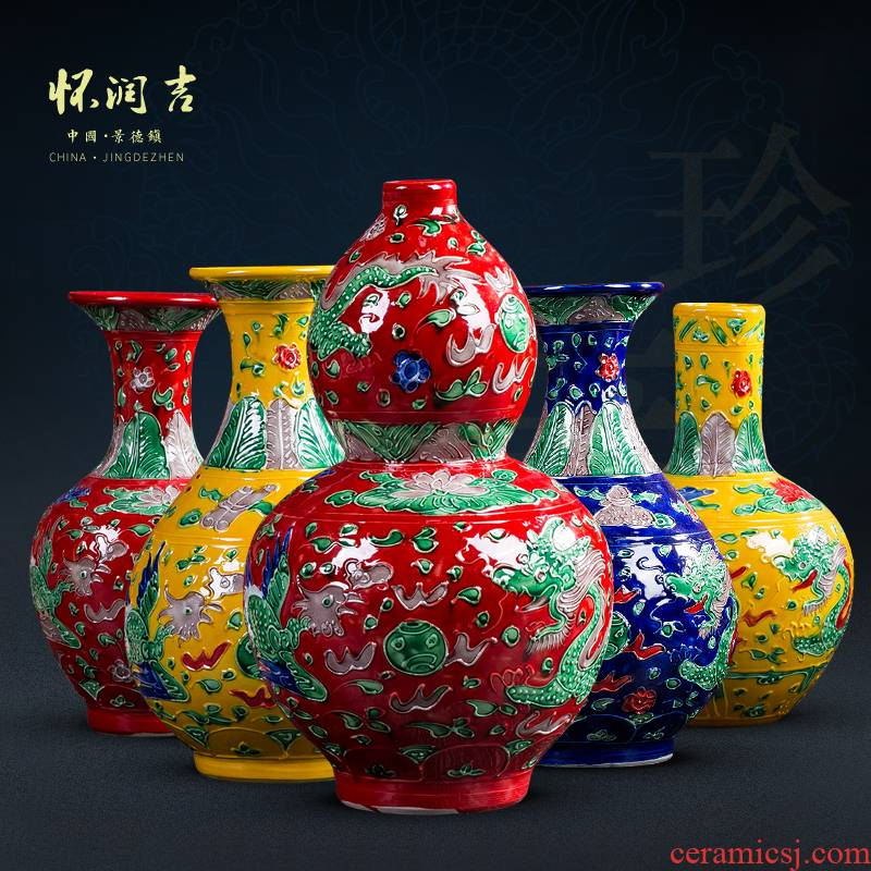 Jingdezhen carved antique vase colored enamel vase contracted and I Chinese style household porch TV ark, furnishing articles