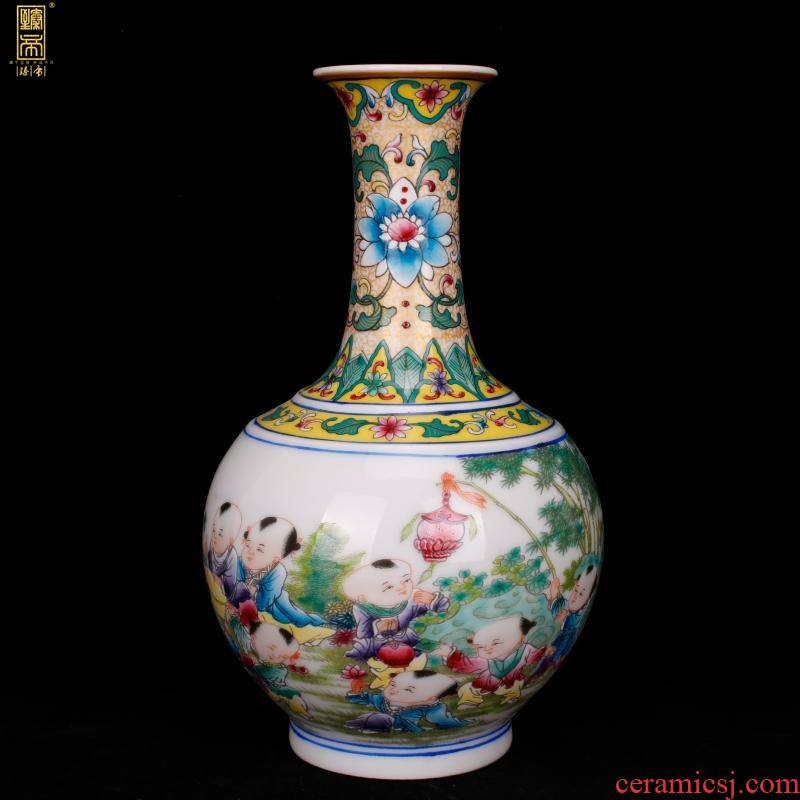 Jingdezhen imitation qianlong hand - made the boy play of the reward bottle of new Chinese style living room decorated boutique antique antique penjing collection