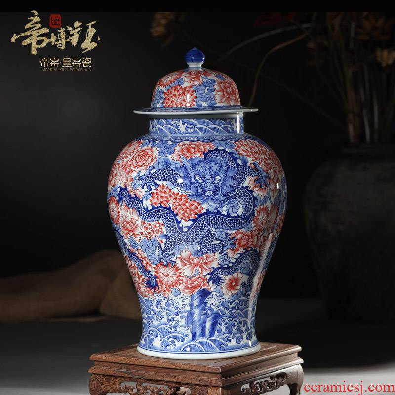 Antique hand - made porcelain of jingdezhen ceramics youligong red dragon wear a flower is the general pot of Chinese style living room home furnishing articles