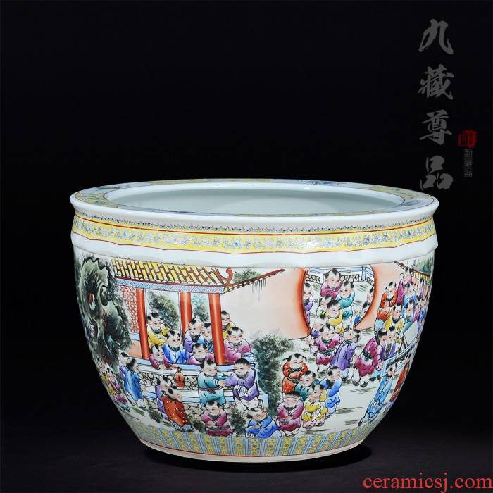 Jingdezhen ceramics antique hand - made famille rose in the spring of the ancient philosophers make figure cylinder living room TV cabinet handicraft furnishing articles