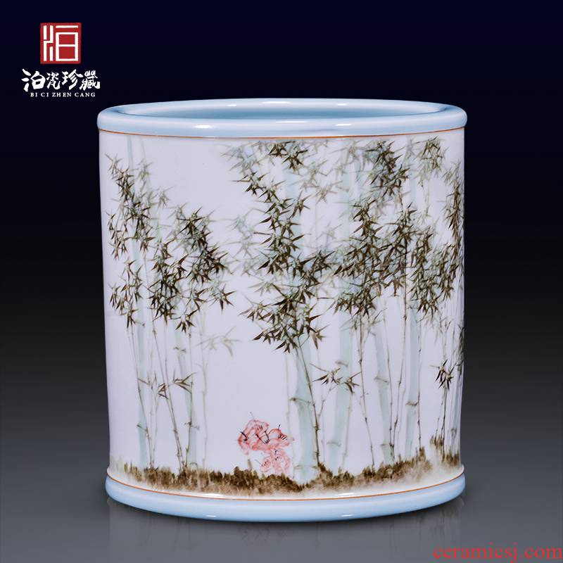 Jingdezhen ceramic hand - made bamboo vase decoration household decorates sitting room study flower arranging four pen container furnishing articles