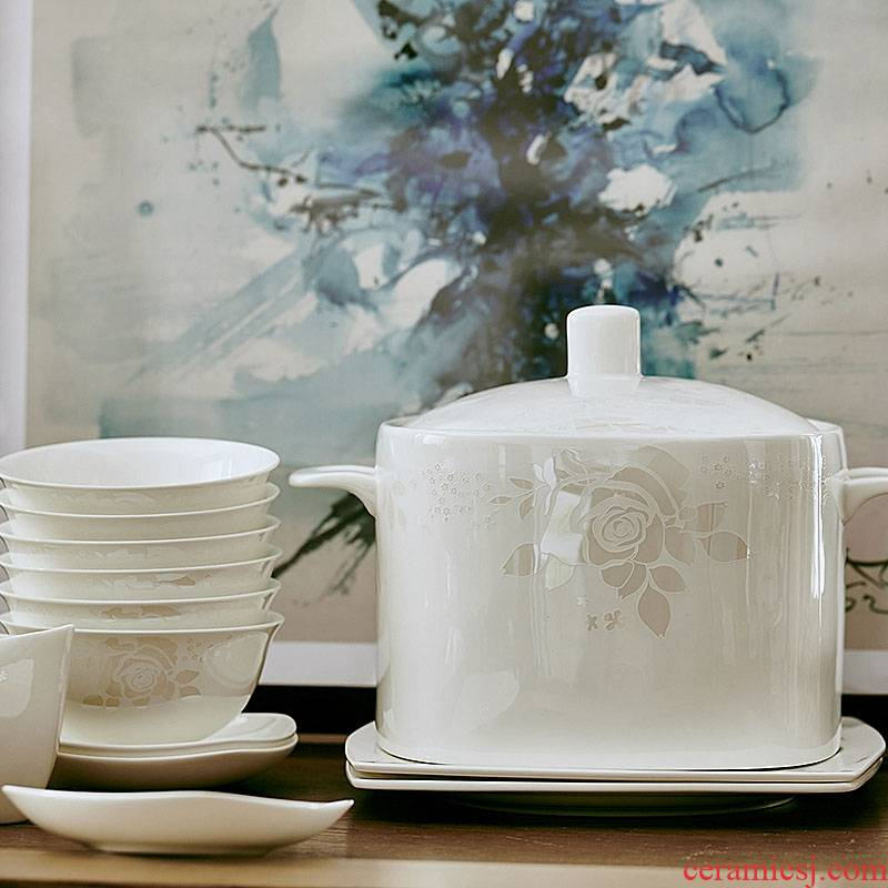 Dishes suit household jingdezhen porcelain tableware 58 ipads head Dishes practical new contracted style bowl wedding gifts