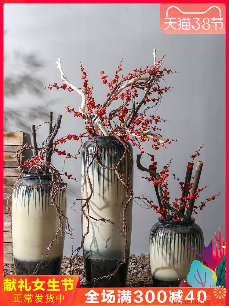 Coarse pottery jingdezhen hotel restoring ancient ways of large POTS ceramic flower vases, flowers simulation flower, adornment is placed
