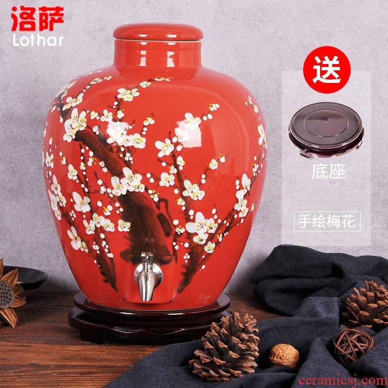 Jingdezhen ceramic jars 20 jins hand - made hong mei it household liquor bottle seal pot bottle jar