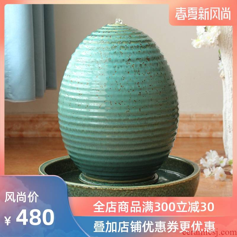 Landscape water fountain POTS humidifier decoration example room hotel modern American Chinese vase water landing
