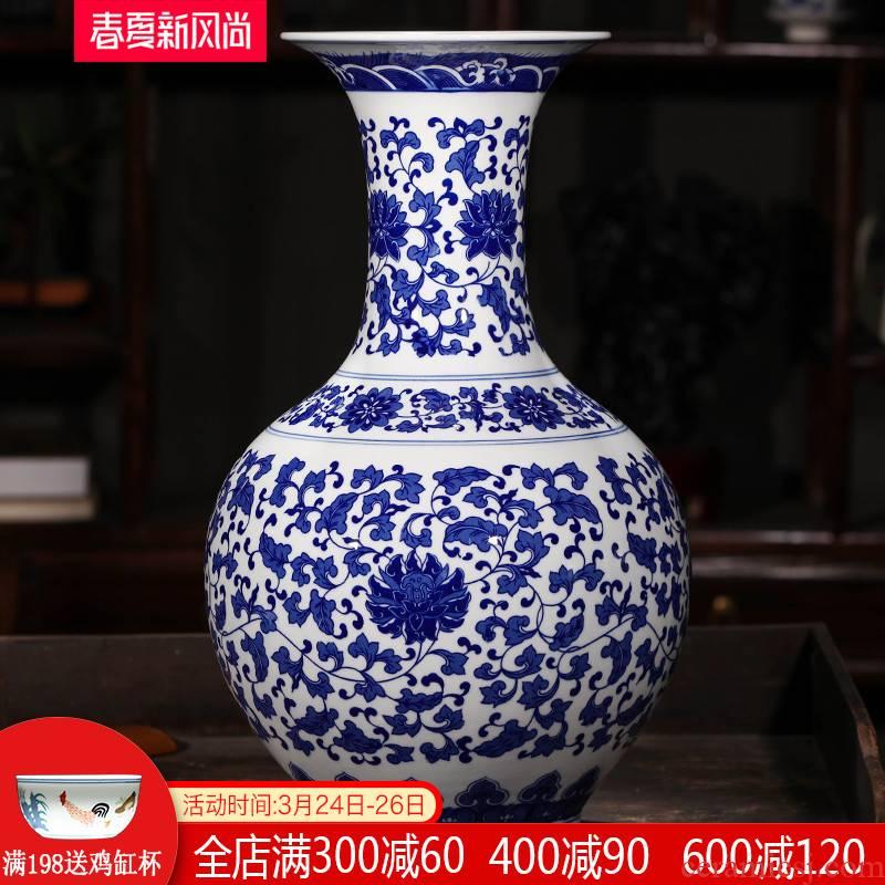 Antique blue and white porcelain of jingdezhen ceramics of large vases, flower arrangement home furnishing articles large living room