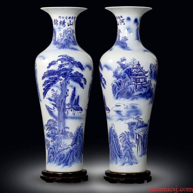 Jingdezhen blue and white porcelain splendid sunvo large sitting room of large vases, ceramic decorations study hotel furnishing articles