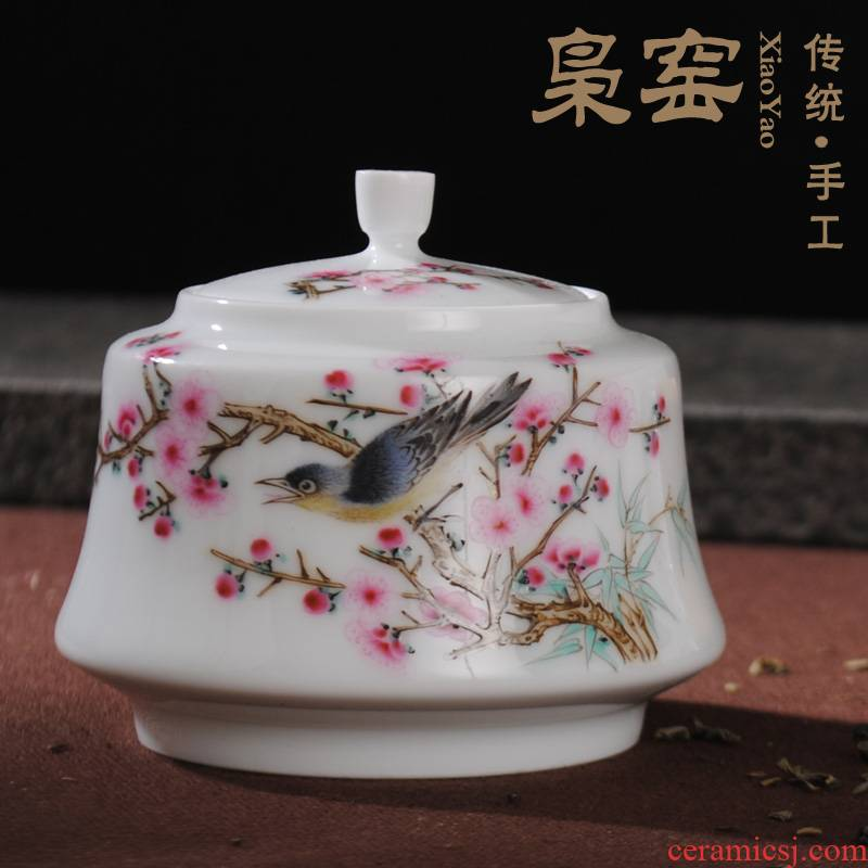 The Owl up jingdezhen hand - made famille rose tea set tea small ceramic tea pot seal pot kung fu tea set