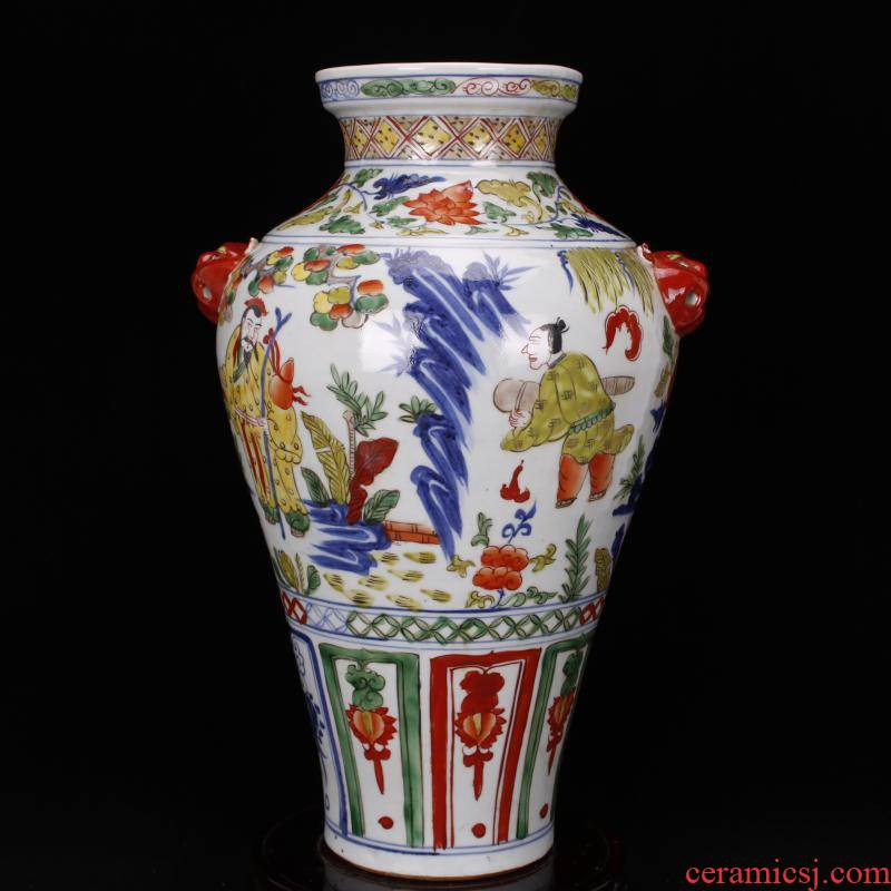 Jingdezhen imitation of yuan blue and white color antique antique character lines beast ear mei bottles of retro decoration old items collection