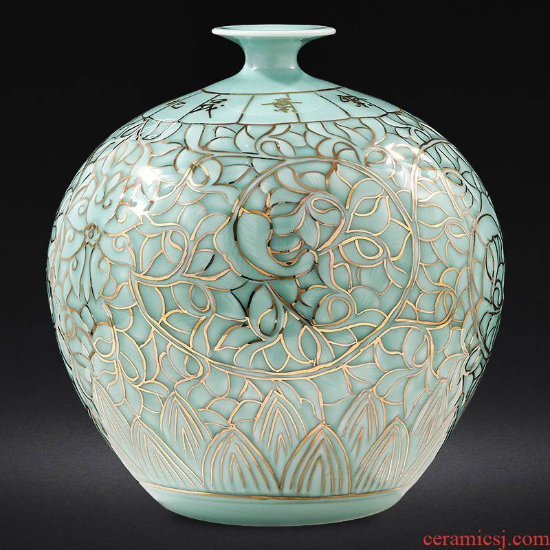 Jingdezhen ceramics by hand shadow blue glaze see pomegranate vases, large sitting room of Chinese style adornment furnishing articles