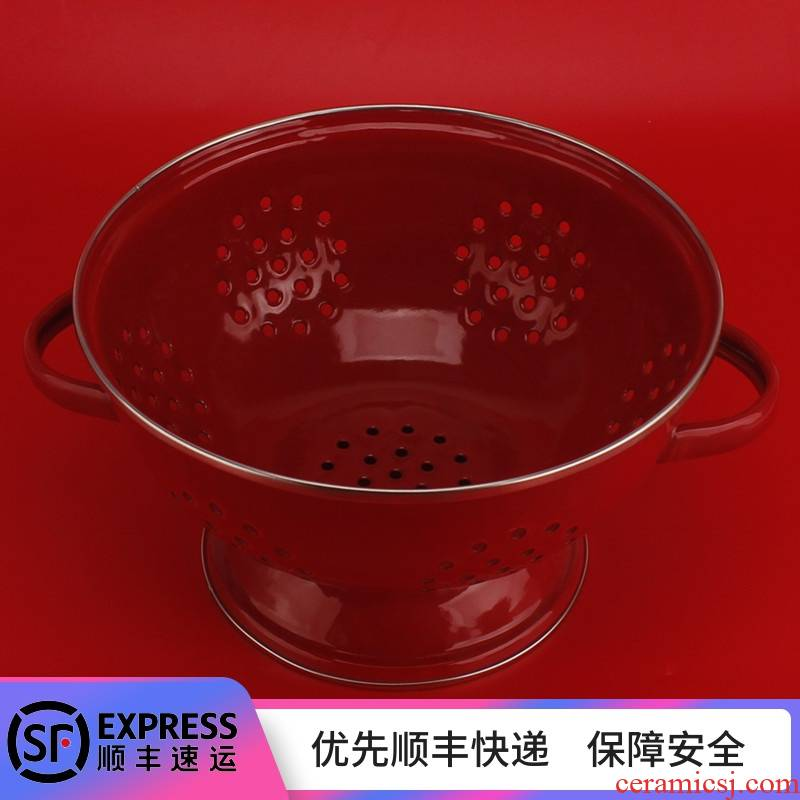 Enamel fruit bowl with freight insurance 】 【 basin of the sitting room of household kitchen basket of fruit basket drop drop
