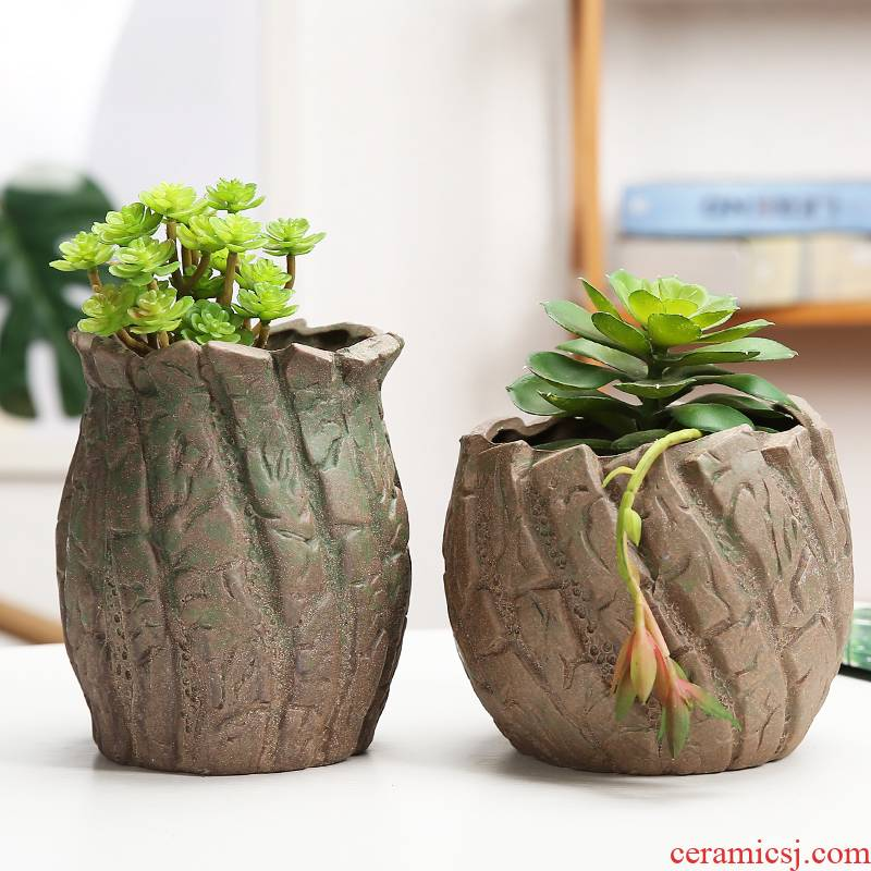 Fleshy green plant ceramic flower pot flower of bracketplant of the orchids is mage old high permeability model of big diameter coarse pottery flowerpot