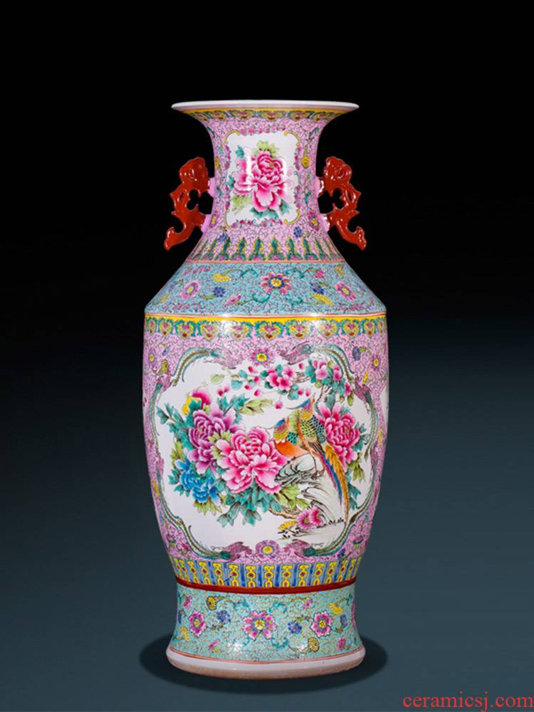 Jingdezhen ceramics of large vase archaize long ears admiralty bottles of Chinese style living room decoration collection furnishing articles