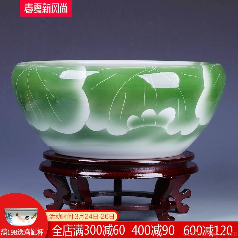 Jingdezhen ceramics craft goldfish bowl the tortoise cylinder shallow water lotus pond lily fish pot pot sitting room furnishing articles