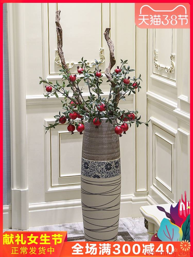 Jingdezhen ground vase large - sized ceramic furnishing articles I and contracted household adornment of new Chinese style porch high flower arranging