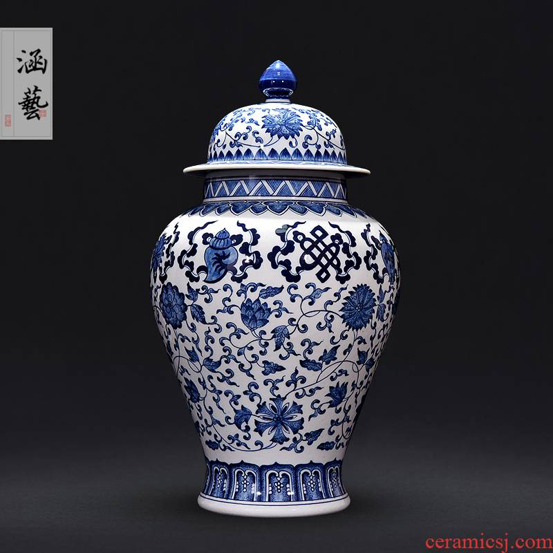 Jingdezhen ceramics general hand - made antique Chinese vase of blue and white porcelain pot sitting room porch place in living in adornment