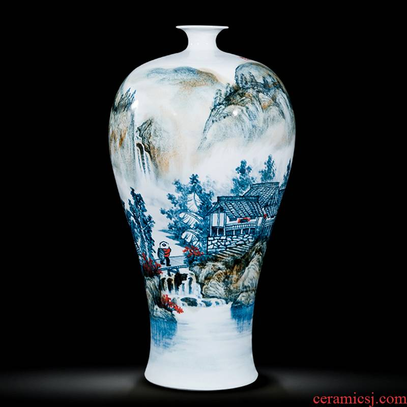 Jingdezhen ceramics celebrity hand - made the master of landscape painting large vase household villa living room office furnishing articles