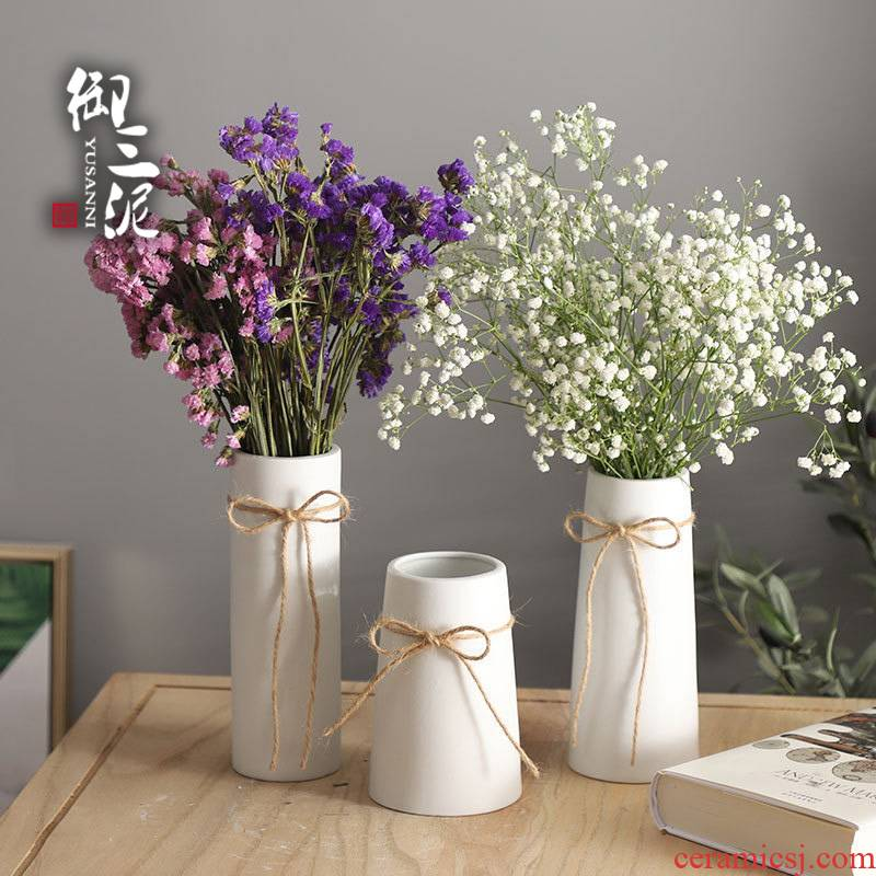 Ceramic dried flowers all over the sky star vase small pure and fresh and contracted white rope household, I and contracted decorate furnishing articles