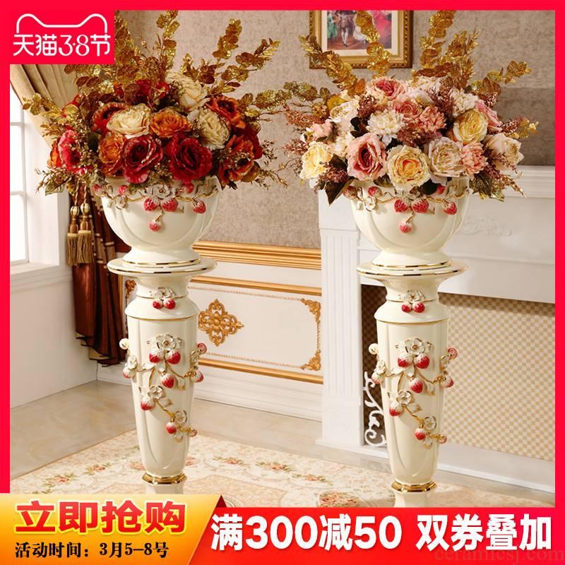 The Big ground ceramic vase furnishing articles European living room TV cabinet dry flower adornment household large Roman column flowerpot