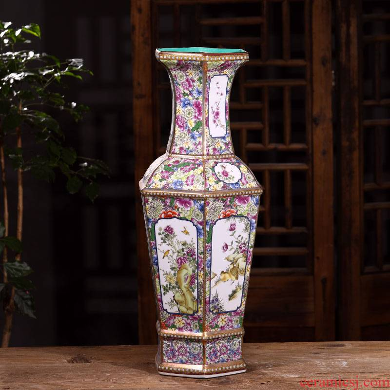 Chinese classical jingdezhen ceramics antique vase rich ancient frame vase sitting room furnishing articles furnishing articles of ceramic arts and crafts