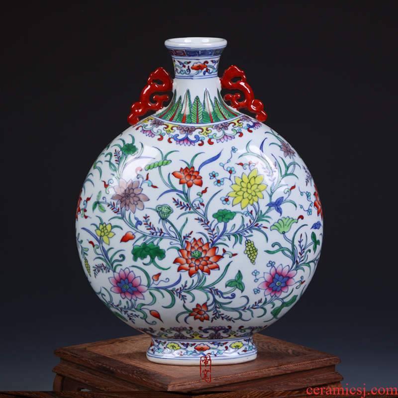 Jingdezhen porcelain factory goods cultural revolution hand - made porcelain dou colors lotus flower grain ears flat bottle vase home furnishing articles
