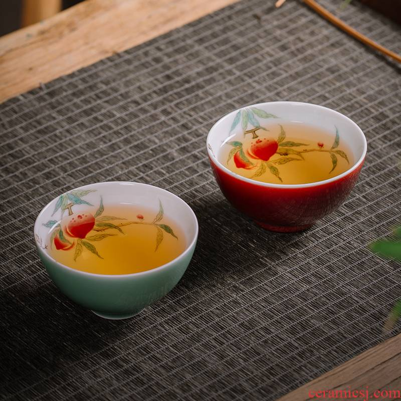 The Owl up jingdezhen tea checking ceramic cups single CPU kongfu master cup draw peach is ruby red glaze cup