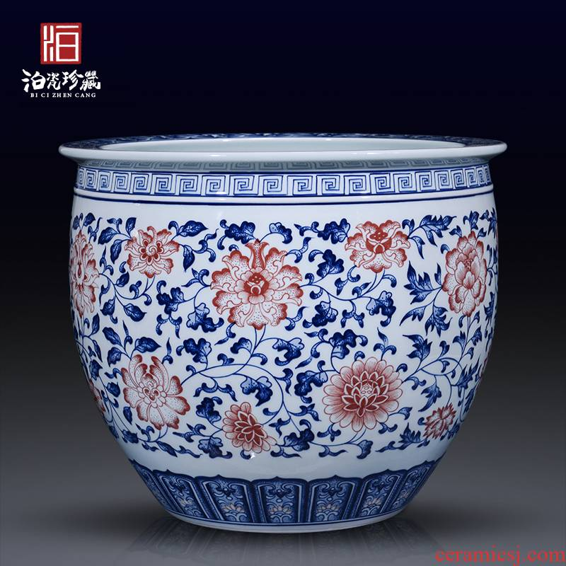Blue and white porcelain of jingdezhen ceramics painting and calligraphy cylinder landing large sitting room aquarium decorations collection of new Chinese style furnishing articles