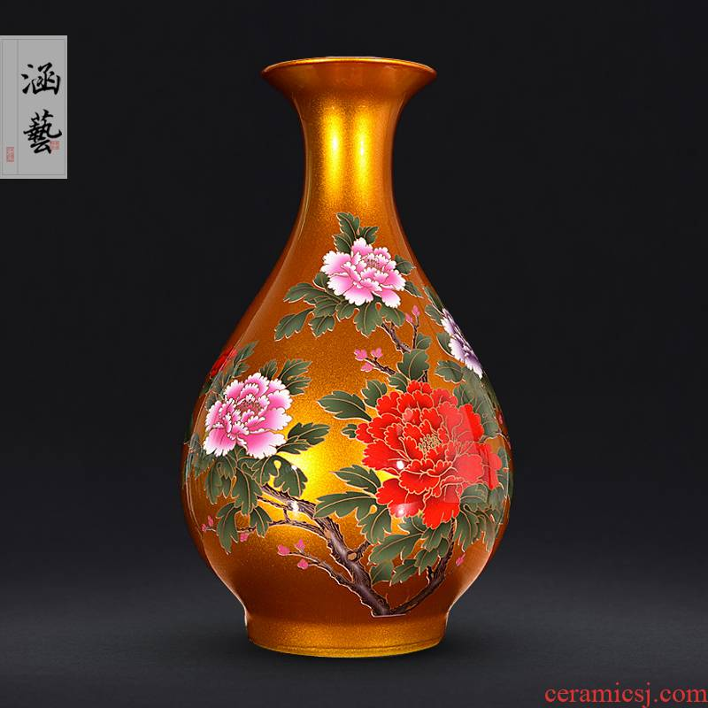 Jingdezhen ceramics glaze crystal golden blooming flowers peony vases, Chinese style household handicraft furnishing articles sitting room
