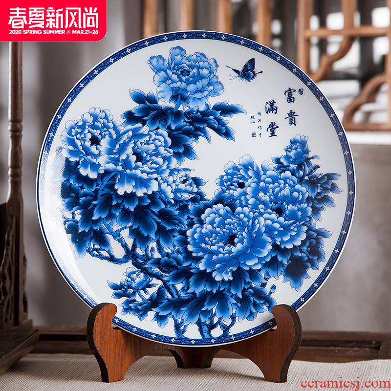 Jingdezhen ceramics furnishing articles household decorations hanging dish Chinese blue and white porcelain arts and crafts rich decorative plate