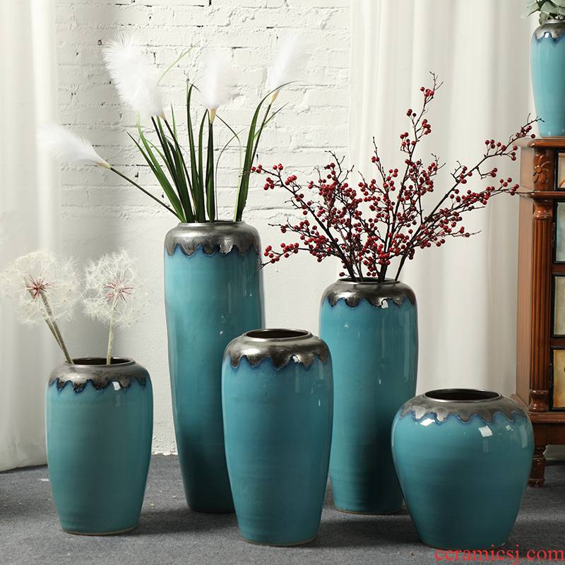 Contracted and I boreal Europe style ceramic floor vase sitting room place, American country blue example room decoration