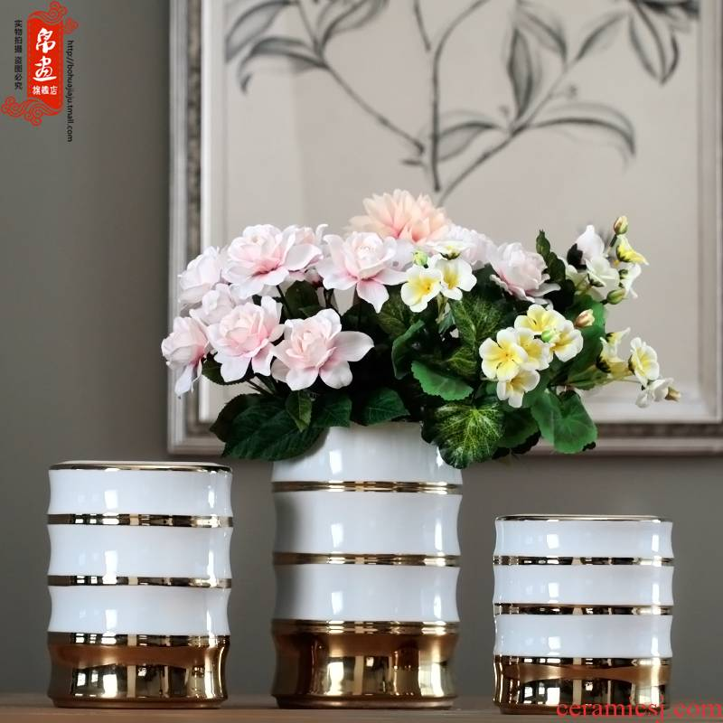 Jingdezhen ceramic vase furnishing articles living room table grain dry flower arranging flowers, jar, household decorates porch is received