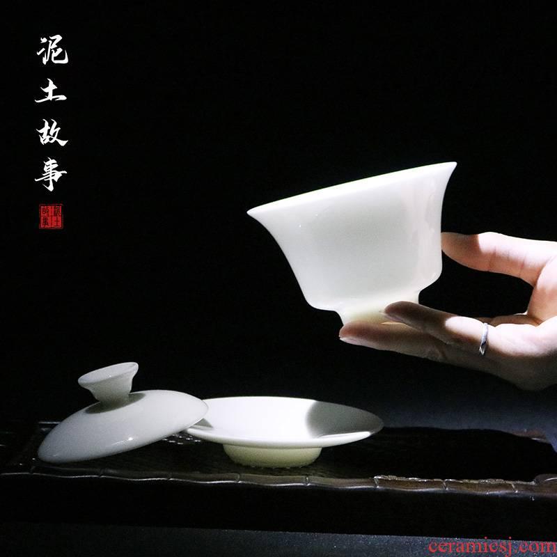 Soil dehua manual three story tureen tea cups of jade white porcelain ceramic kung fu tea bowl