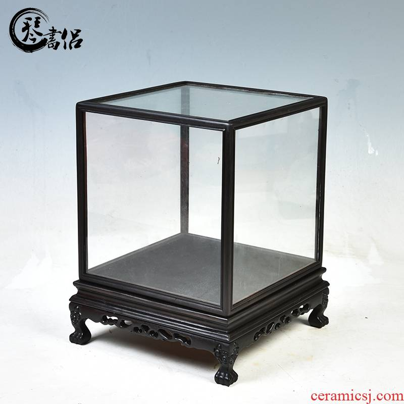Red wood violet light tan, black TanBao cage base antique handicraft glass cover figure of Buddha treasure cage show the dust cover