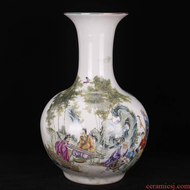 Jingdezhen pastel bamboo seven sages of the reward bottle of Chinese style household company store hotel archaize sitting room of large vase