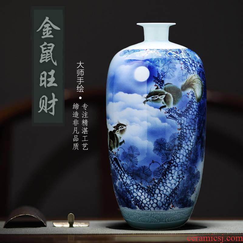 Hand large vases, ceramic checking porcelain jingdezhen famous blue and white porcelain bottle Chinese flower arranging sitting room adornment
