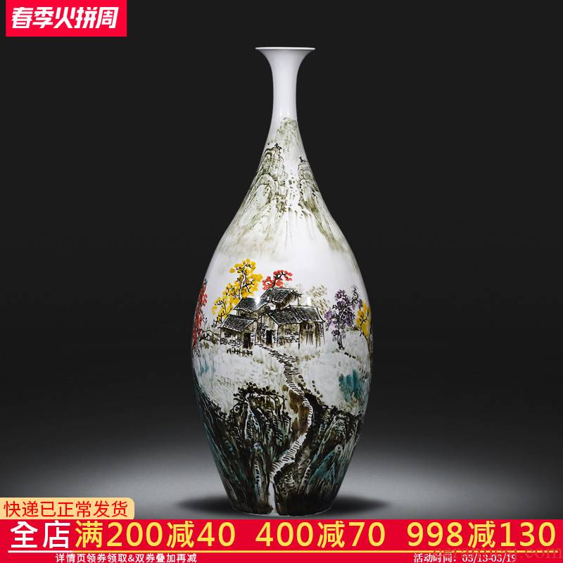 Jingdezhen ceramics vase famous hand - made under glaze color Chinese rural style home sitting room adornment is placed