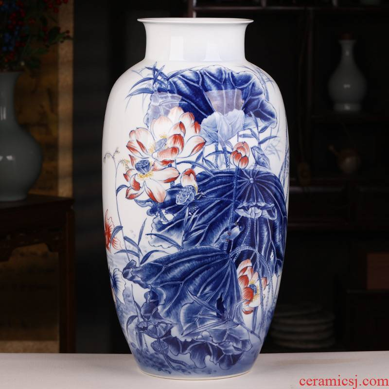 Jingdezhen ceramics hand - made Chinese blue and white porcelain vase home porch decoration handicraft furnishing articles large living room