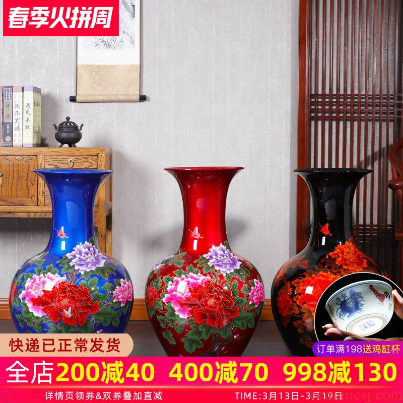 Jingdezhen of large vases, ceramic furnishing articles extra large sitting room of Chinese style household flower arranging hotel manual ornament