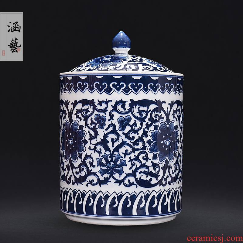 Jingdezhen ceramic hand - made archaize storage jar of pu 'er tea pot of blue and white porcelain vase furnishing articles flower arranging Chinese style living room