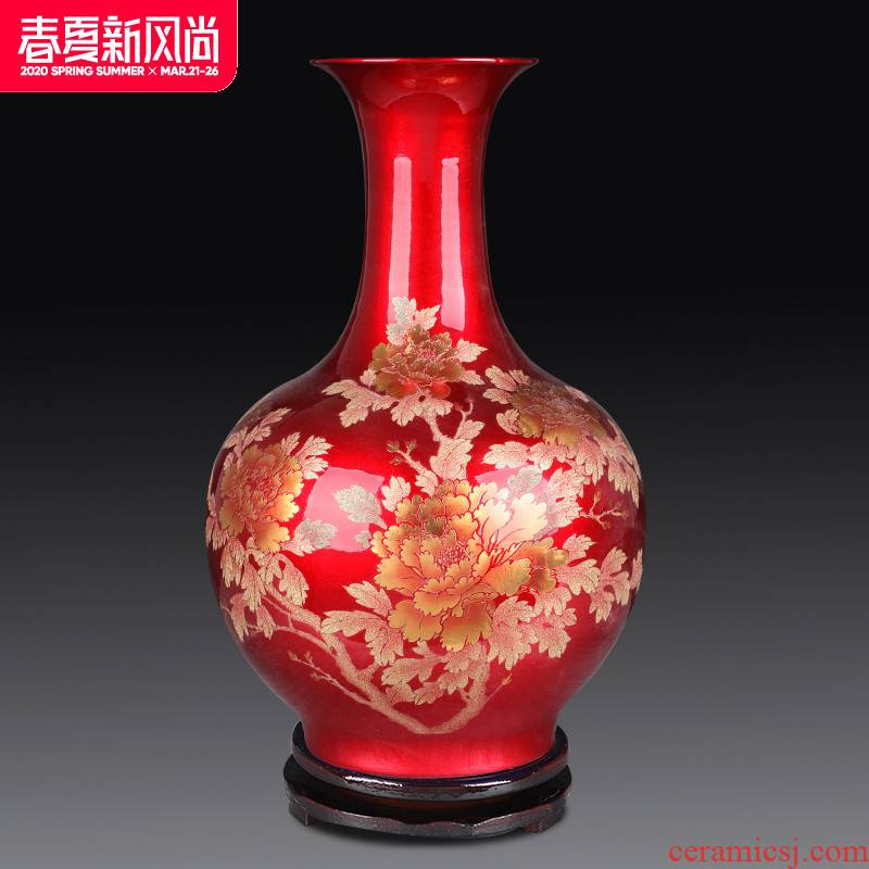 Crystal glazed pottery jingdezhen porcelain vase landing place, Chinese red flower arranging the sitting room of Chinese style wedding decoration