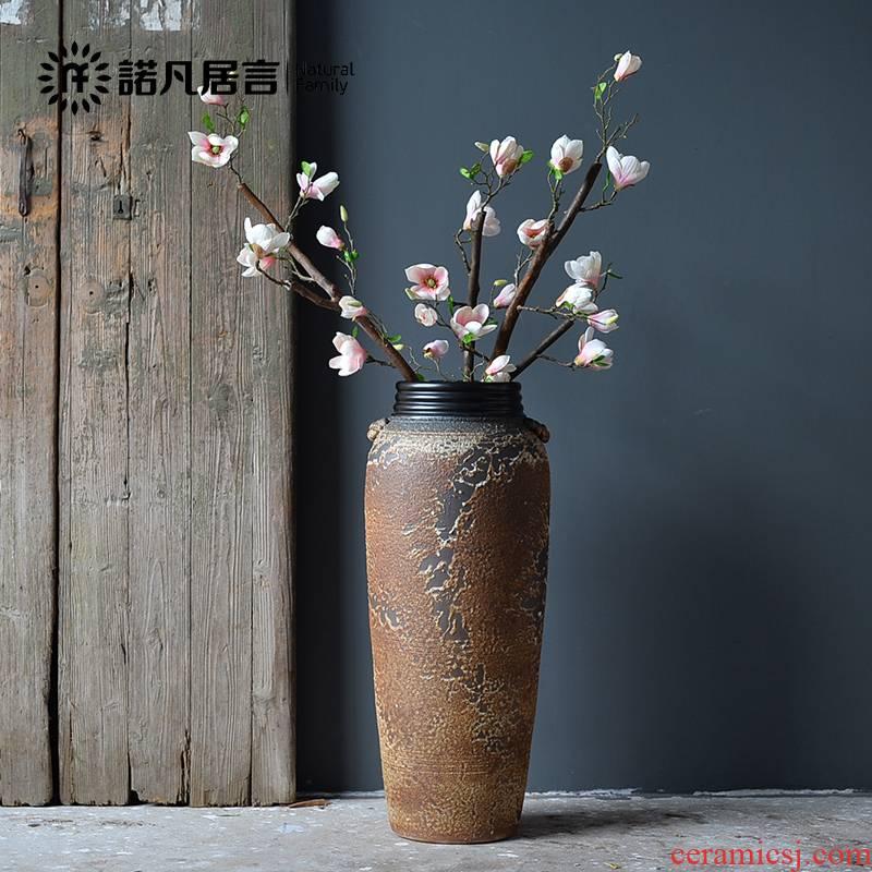 Jingdezhen ceramic vase landing large Nordic sitting room simulation flower decoration flower arranging furnishing articles coarse TaoShuang ear screw