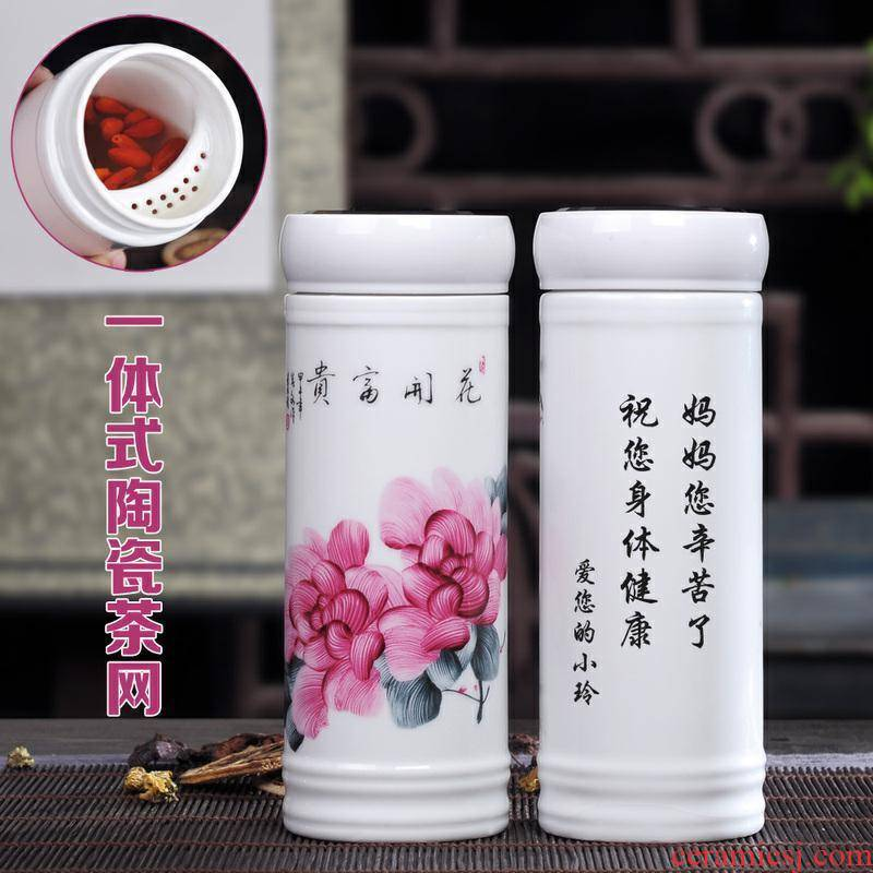 Vacuum cup double water cover tea w tank office gifts jingdezhen blue and white porcelain ceramic filter
