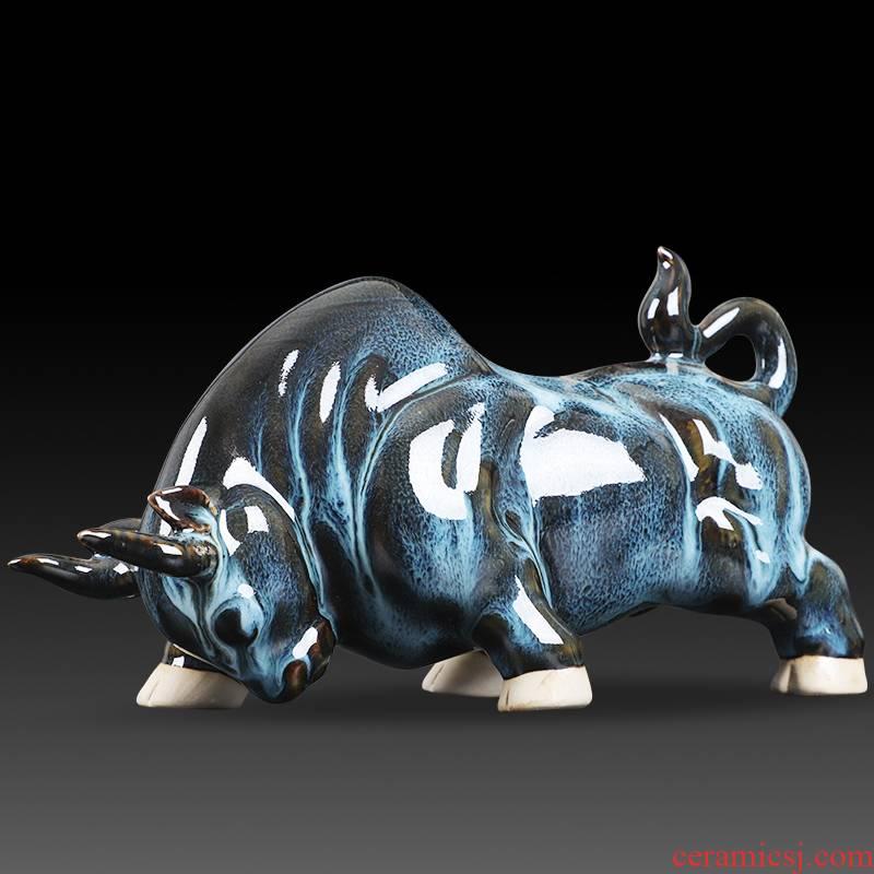 Jun porcelain ceramics creative process variable glaze green cow home office furnishing articles feng shui plutus ornament