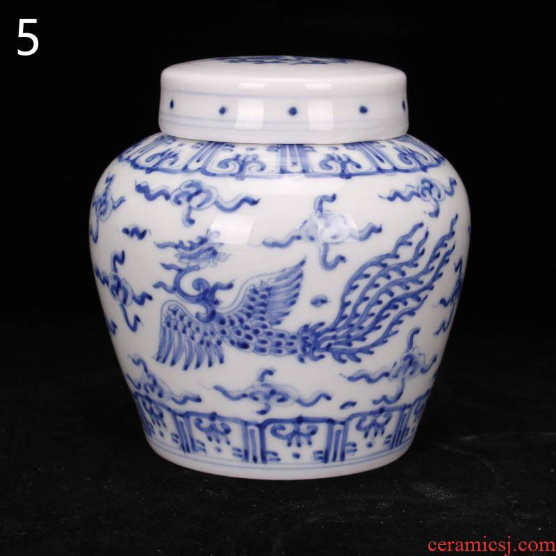Jingdezhen hand - made kirin dragon grain day word wind canister caddy fixings antique ceramic tea set, tea is tea storage storehouse