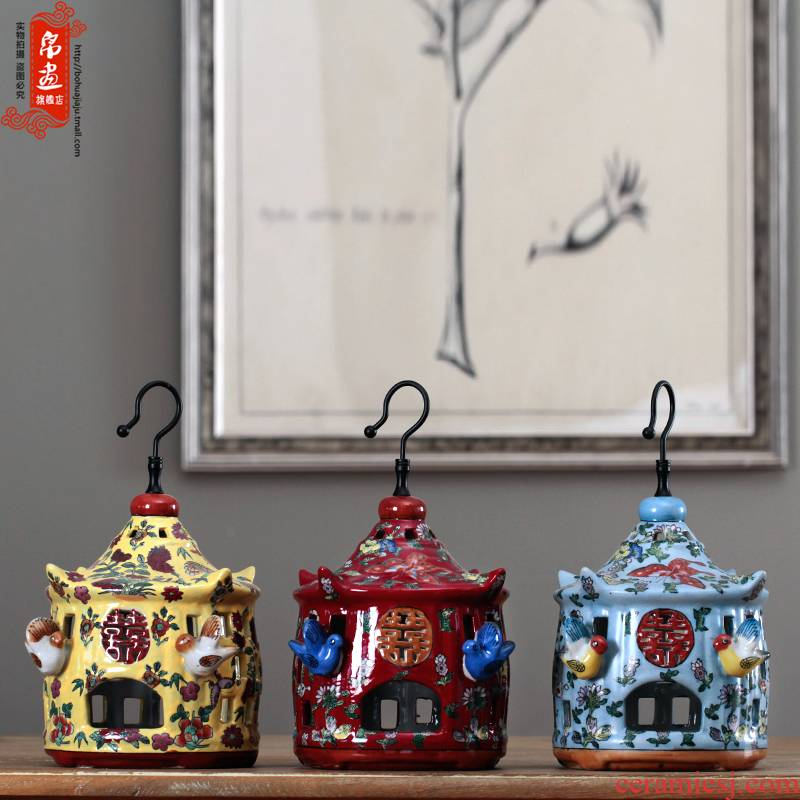 Ceramic cage aromatherapy home furnishing articles made household adornment of the sitting room tea table wine crafts rich ancient frame