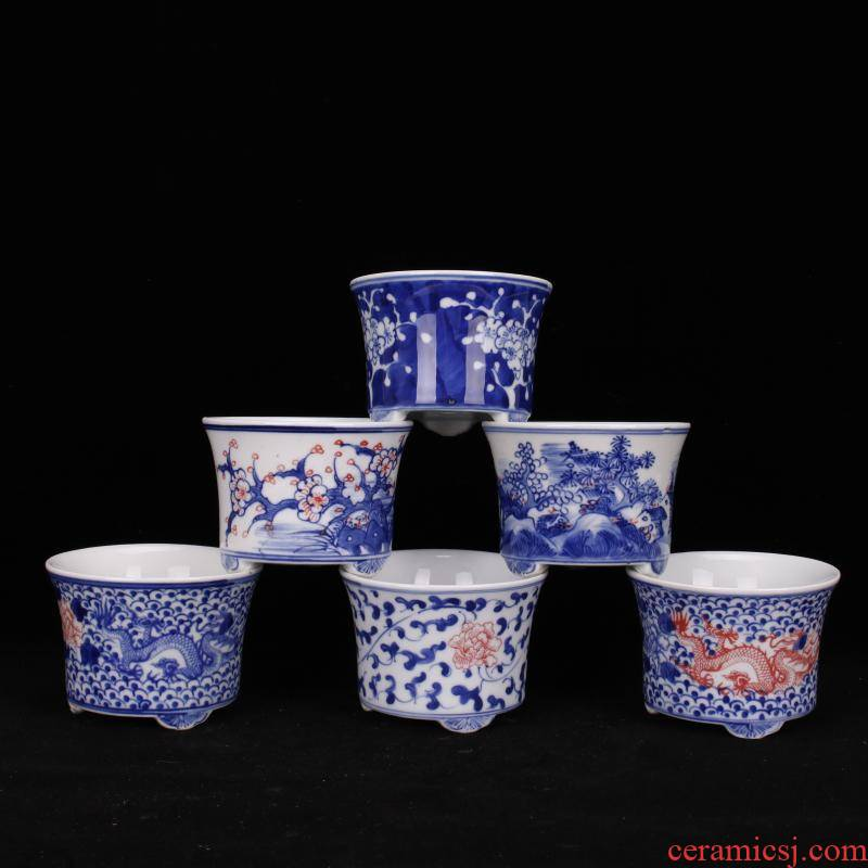 Jingdezhen porcelain three small fleshy plant flower pot art ceramic flower pot adornment cabinet office desk