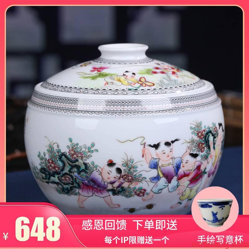 Jingdezhen ceramic tea pot enamel POTS awake pu 'er tea cake tin box seal pot