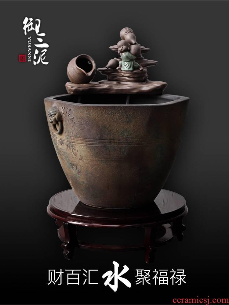 Jingdezhen ceramic goldfish bowl zen furnishing articles lucky garden water tanks and water the young monk feng shui cornucopia pool